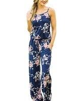 Hitmebox 2017新しいファッション夏の女性スパゲッティストラップクルーネックフローラルプリントノースリーブ自由奔放に生きるロングジャンプスーツ宮殿パンツロンパー