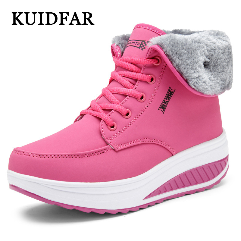 KUIDFAR Women boots 2017 warm fur winter boots platform shoes Ankle Boots hiden heel Ladies Shoes Women Rain casual snow shoes 2016 rhinestone sheepskin women snow boots with fur flat platform ankle winter boots ladies australia boots bottine femme botas