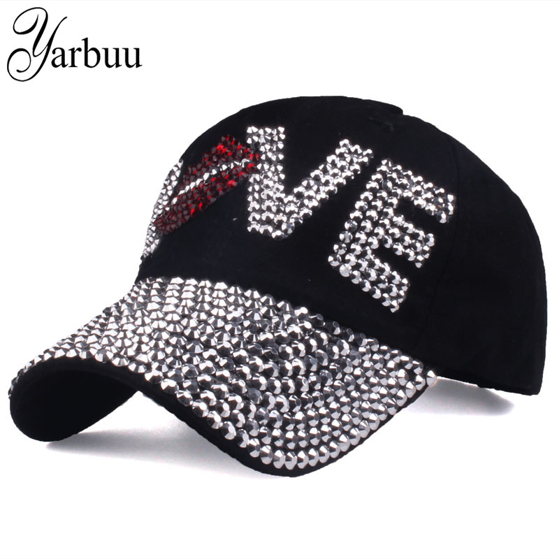 YARBUU  Baseball caps New style letter LOVE cap for women sun hat  rhinestone hat denim and cotton snapback cap free shipping-in Baseball Caps  from Apparel ... e6c92d05cc9f
