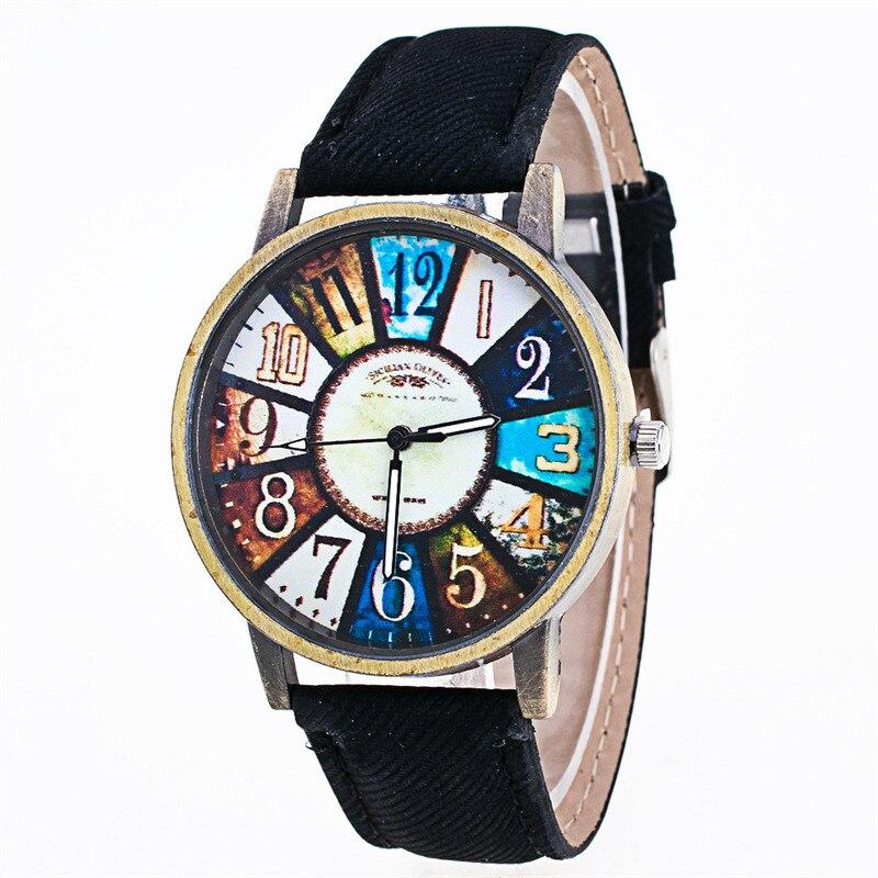 Watch Women Watches Harajuku Graffiti Pattern PU Leather Dress Female Clock Analog Quartz Watches Relogio Feminino Clock Lady