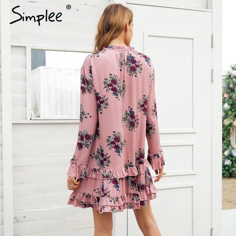 Robe à lacets à col en v à manches longues pour femmes 2019 printemps streetwear boho robe femme - 3