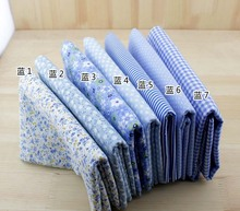 Light blue  Plain &Twill Cotton Handmade Fabric for DIY Patchwork Sewing Wallet Bag Textiles 50*50cm 7pcs Free shipping