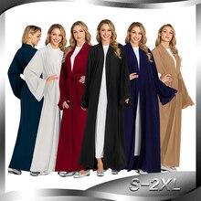 Effen Kimono Open Abaya Dubai Kaftan Moslim Hijab Jurk Abaya Voor Vrouwen Robe Africaine Femme Caftan Turkse Islam Kleding Oman
