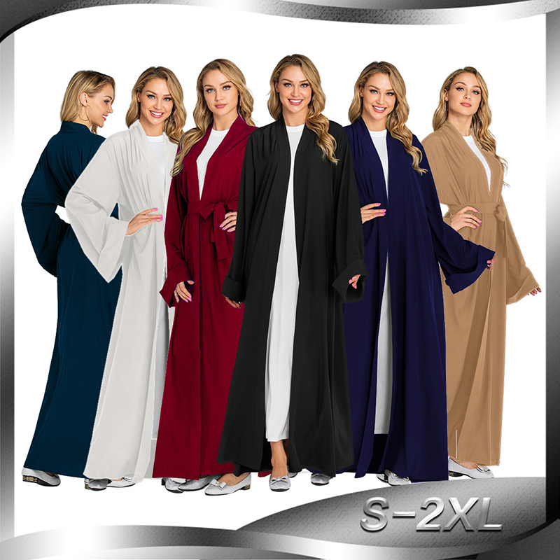 Solid Color Kimono Open Abaya Dubai Kaftan Islam Muslim Hijab Dress Jilbab Abayas For Women Robe Caftan Turkish Islamic Clothing