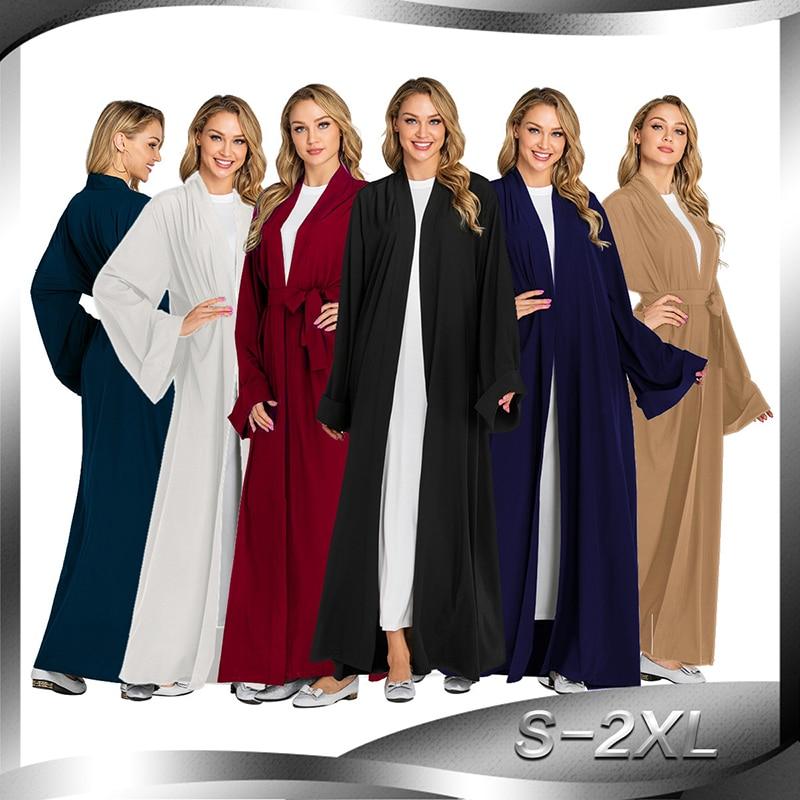 Solid Color Kimono Open Abaya Dubai Kaftan Islam Muslim Hijab Dress Jilbab Abayas For Women Robe Caftan Turkish Islamic Clothing(China)