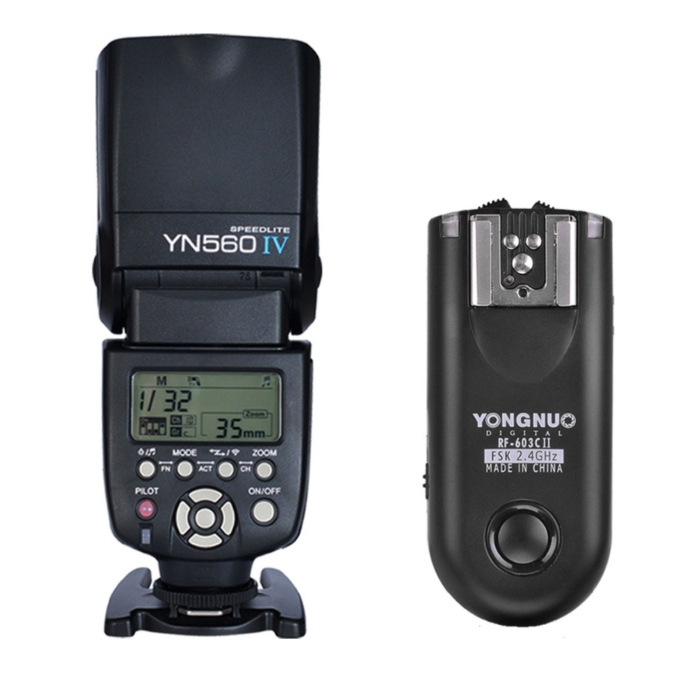 Yongnuo YN-560 IV Flash Speedlite + RF-603II C Wireless Remote Trigger for Canon DSLR / for Canon 750D 760D 700D 650D 70D 60D 7D original yongnuo yn560 iv yn 560 iv master radio flash speedlite rf 605 wireless trigger for canon 1000d 650d 600d 550d dslr