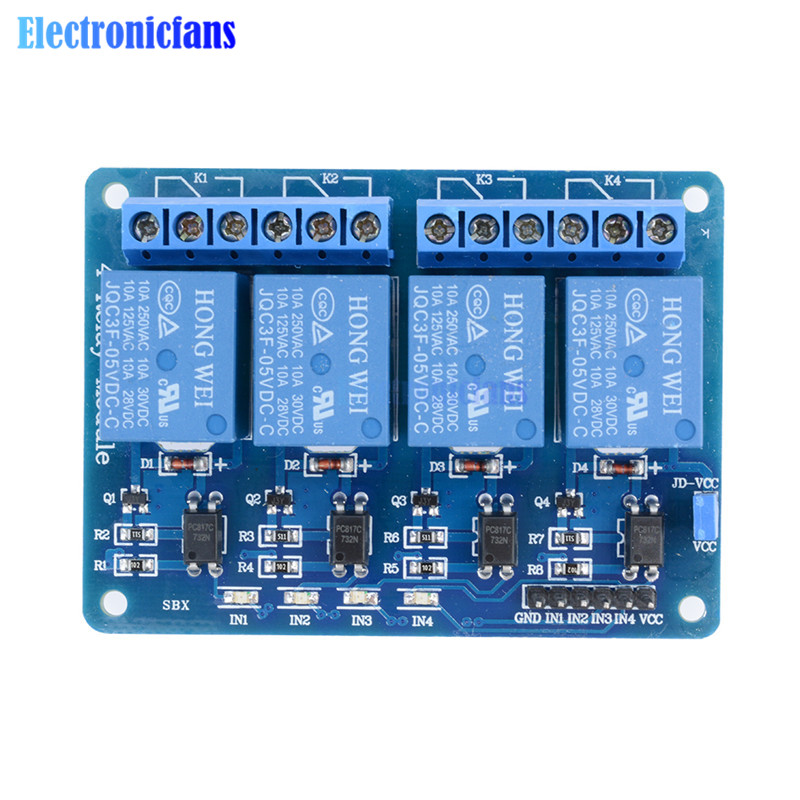 5V 4 Channel Relay Module For Arduino 4-Channel Optocoupler Relay Control  Board Home Smart Switch With LED Indicator Wholesales