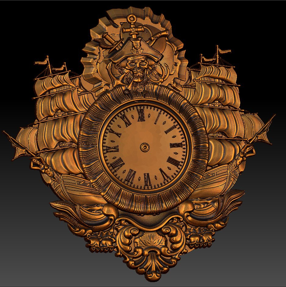 Digital File In STL Format Clock For CNC 3D Relief Carving Engraving C36-27