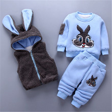 New Fashion Baby Girls Boys Kids Winter Clothes Cotton Cartoon Rabbit Vest+Top+Pant 3 Pcs Hooded Outfit Suit Childrens Clothing