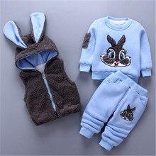 Nowe mody dziewczynek chłopców dzieci zimowe ubrania bawełna kreskówka królik kamizelka + Top + spodnie 3 szt strój z kapturem garnitur odzież dziecięca