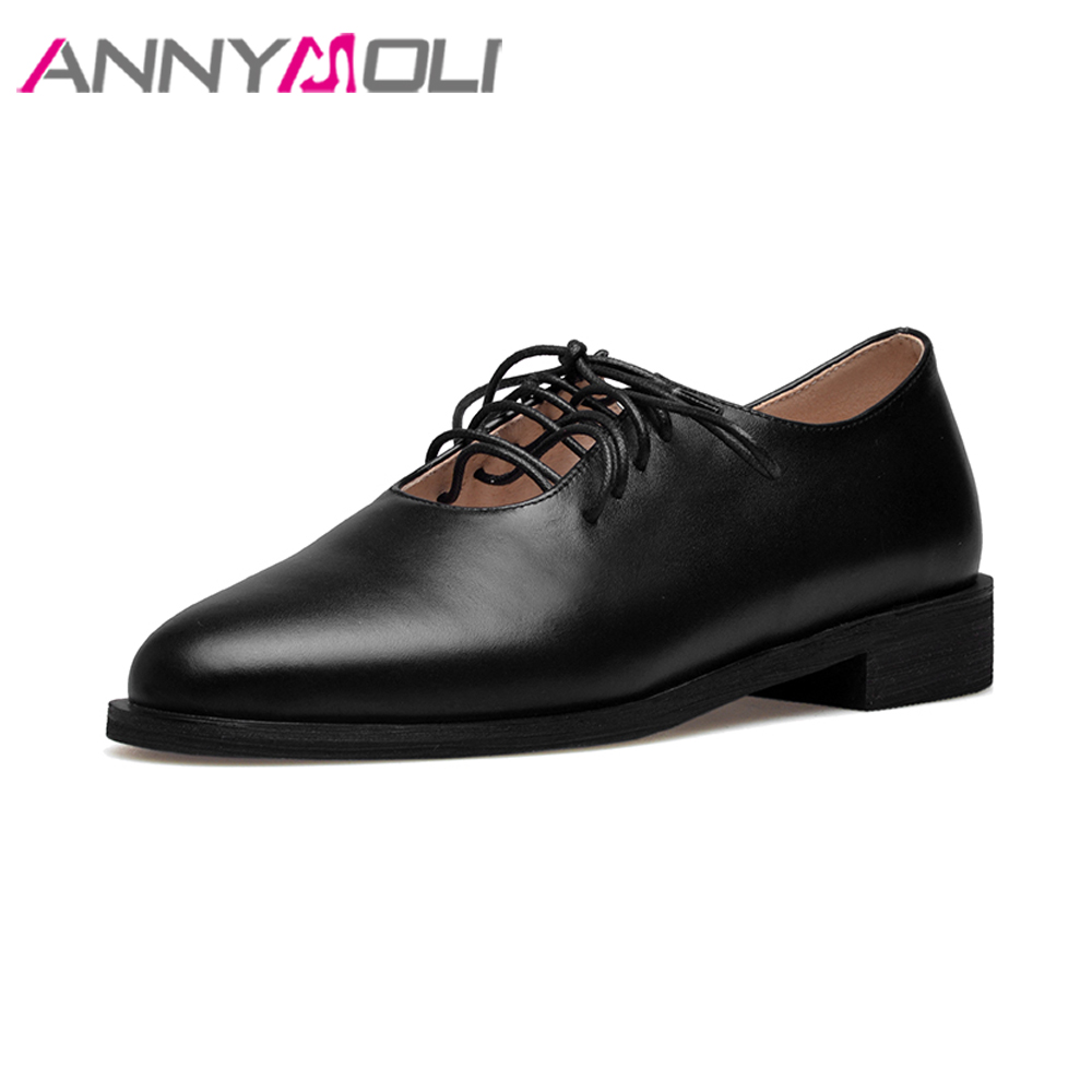 ANNYMOLI Genuine Leather Shoes Women Lace Up Flats 2018 Shoes Black Round Toe Big Size 42 43 Casual Shoes Ladies Spring Flats plus size 34 41 black khaki lace bow flats shoes for womens ds219 fashion round toe bowtie sweet spring summer fall flats shoes