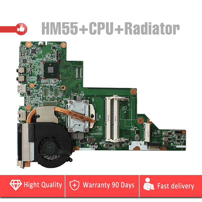 P/N 657324-001 HM55 pour HP CQ43 CQ57 430 431 435 630 635 Ordinateur Portable Carte Mère HM55 avec CPU et radiateur carte mère entièrement testé