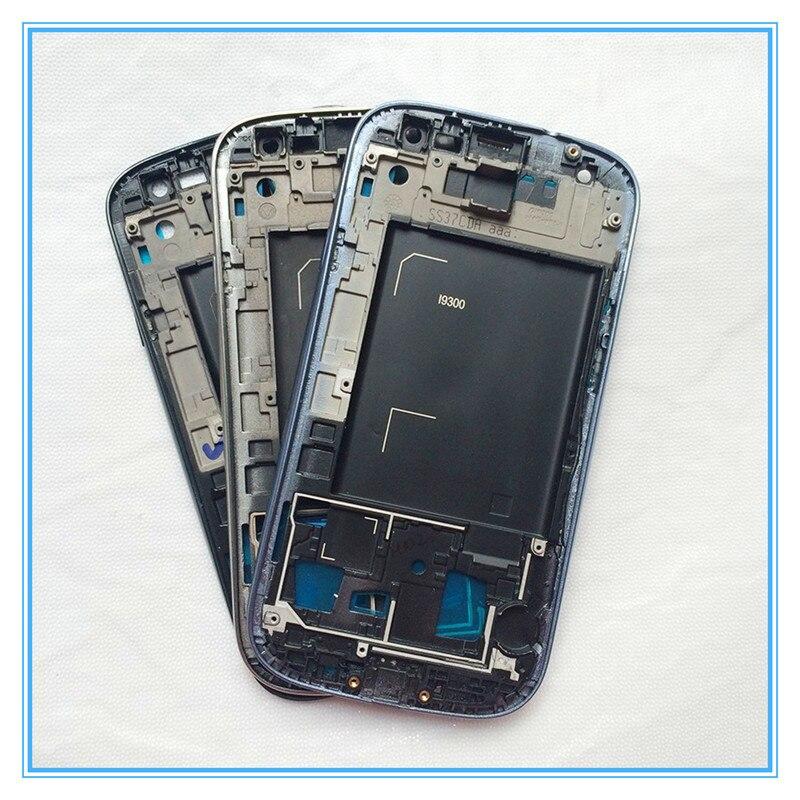Original Nouveau Pièces De Rechange Avant De Logement de Couverture Pour Samsung Galaxy S3 III i9300 LCD Cadre Lunette Logement Façade Bleu Argent