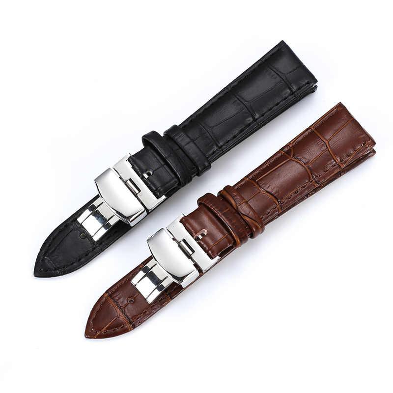 حزام (استيك) ساعة حزام فراشة نمط جلد طبيعي Deployant سوار بأبزيم البني الأسود Watchbands 15-23 مللي متر