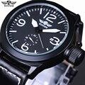 Winner Luxury Brand Watches Fashion Black Leather belt Automatic Mechanical Watches Date Men's sport wristwatch Erkek Saatleri