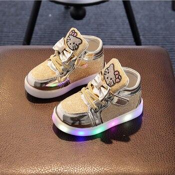 Offre spéciale filles Sneaker Hello Kitty strass chaussures LED filles princesse chaussures mignonnes avec lumière enfants chaussures pour fille EU 21-30