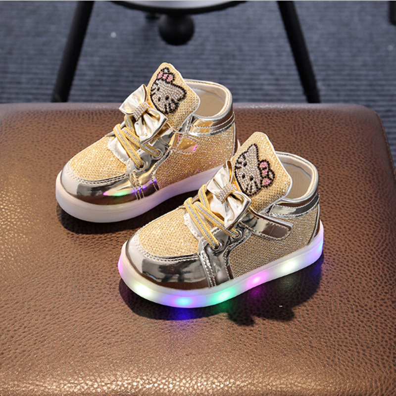 Venta caliente niñas zapatillas de deporte Hello Kitty Rhinestone zapatos Led niñas princesa zapatos con luz zapatos de los niños zapatos para niña de la UE 21-30