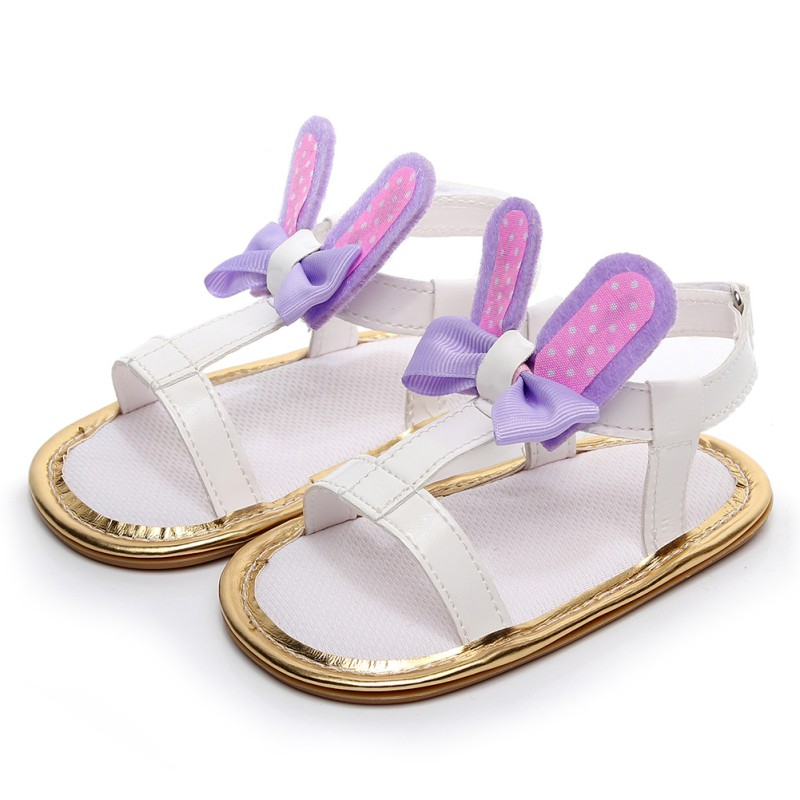 Baby Girl Cute Rabbit Ear Sandals PU Butterfly-knot Casual Summer Sandals Prewalkers Soft Sole Shoes