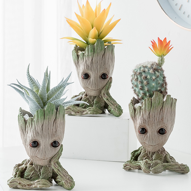 Home Decor Accessories Baby Groot Pen Holder Plants Flower Pot Cute Tree Figurines Miniature Model Desktop Decoration Ornamens