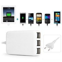 6 USB Ports 30W Charger Short Circuit Protection Power Adapter Home Travel Supplies 110 240V EU