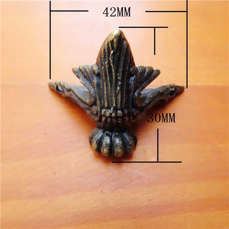 Горячая 4X Ретро защищающая декорированная античная латунь ювелирный подарок деревянный чехол декоративная емкость для хранения ног угловая защита