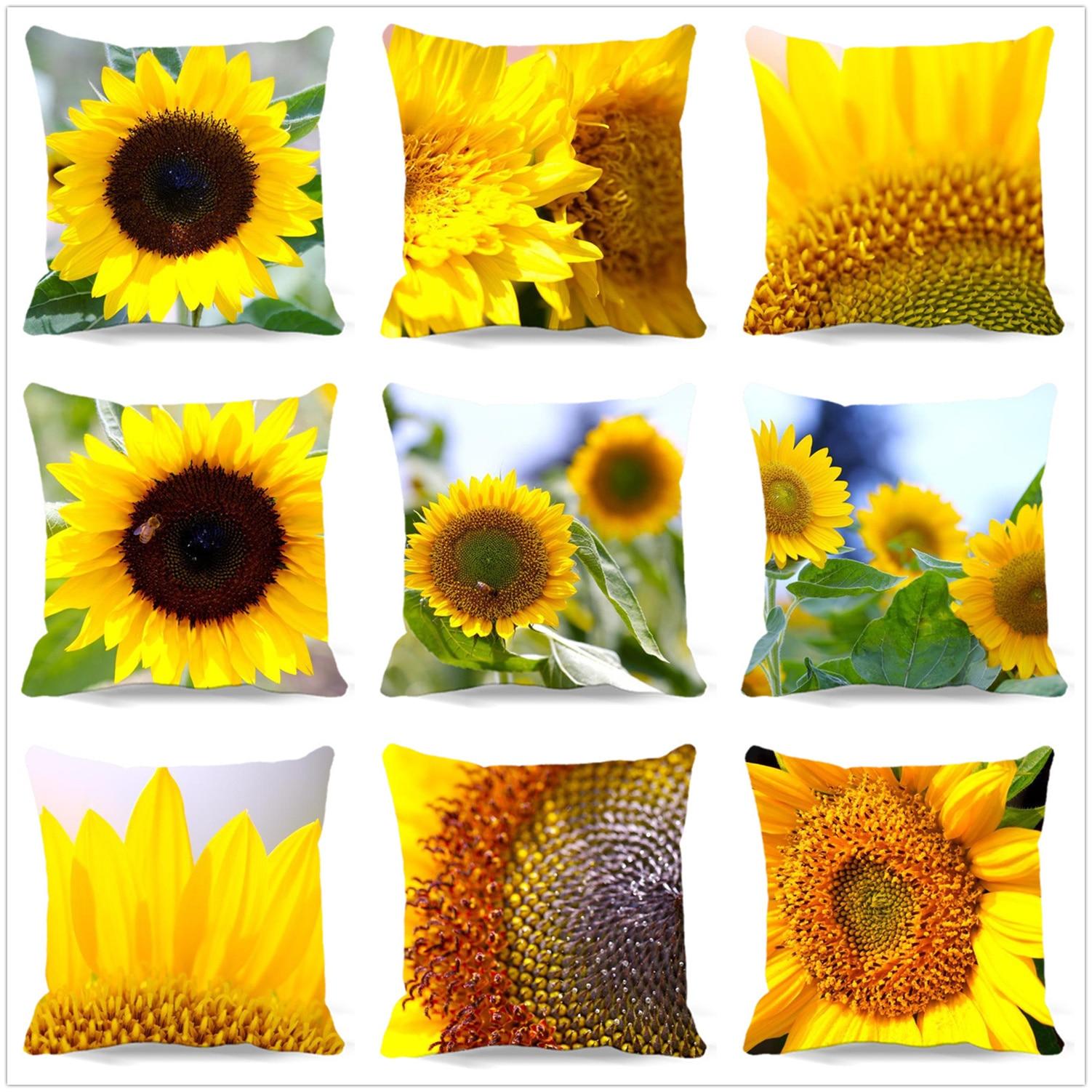 베개 상자 해바라기 식물 시리즈 방석 덮개는 정연한면 폴리 에스테 소파 가정 장식을 인쇄했습니다