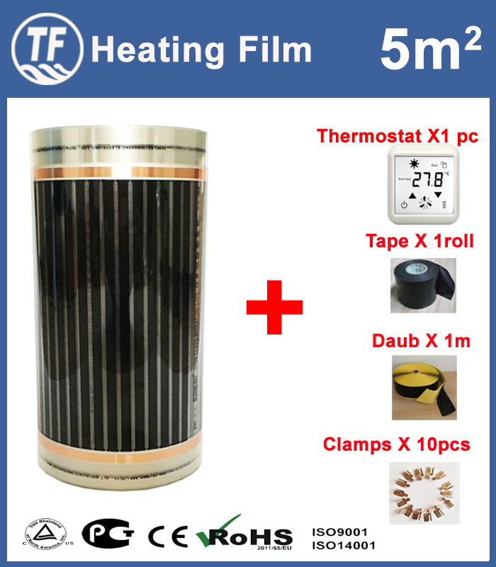 5m2 chaude Infrarouge Lointain Sol et Mur de Chauffage Film Avec Accessoires Accueil Réchauffement Tapis Largeur 0.5 m X Longueur 10 m AC220V 110 w/m