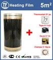 Caliente 5m2 piso infrarrojo lejano y película de Calefacción de pared con accesorios para el calentamiento del hogar ancho 0,5 m X largo 10 m AC220V 110 W/M