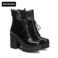 New Arrival 2017 Classic Fashion Splice Lace Floral Black Lace Up Ankle Boots For Women Top