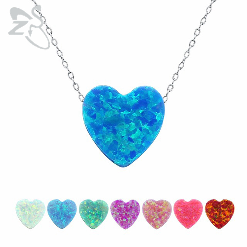 Opal Pendant Necklace for Women Girls 925 Sterling Silver Chain Choker Necklaces 8 Colors Heart Pendants Necklace Women