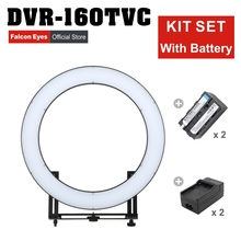 Falcon Eyes 32W 160 Ring LED Panel 3000-5600K Dimmable Photo Video Film Studio Photography Continuous Light  DVR-160TVC kit set falcon eyes 32w 160 ring led panel 3000 5600k dimmable photo video film studio photography continuous light dvr 160tvc kit set