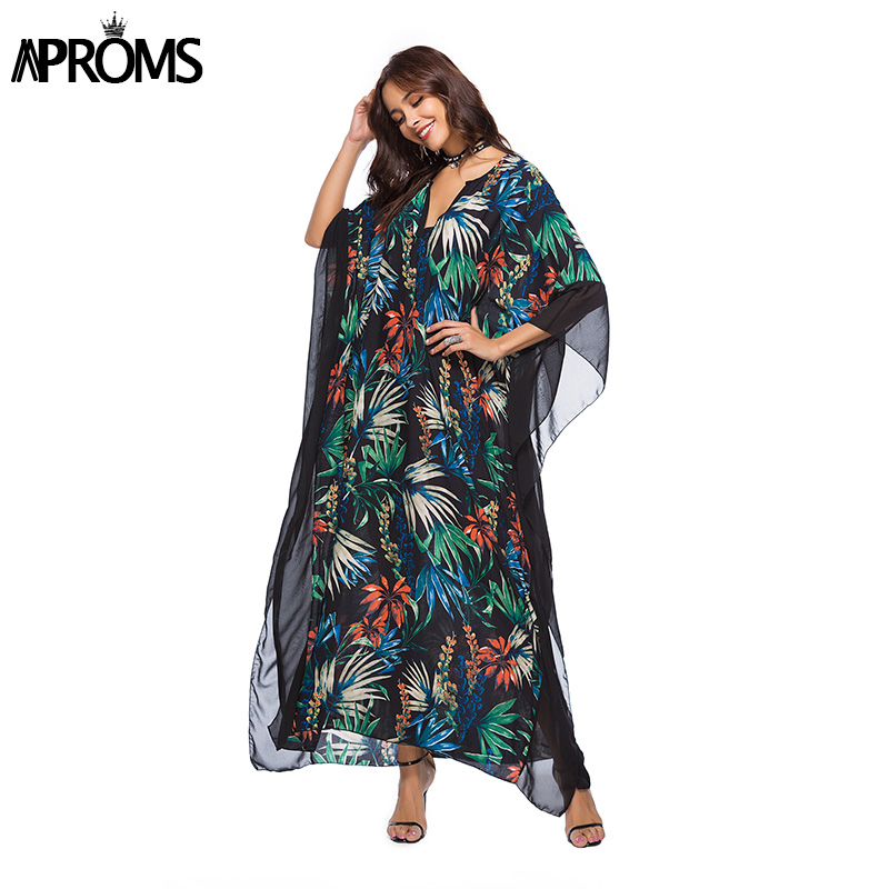 Aproms Elegant V Neck Boho Multi Print Maxi Summer Dress Women Batwing Sleeve Casual Beach Tunic Dress Ovesize Long Vestido 2018