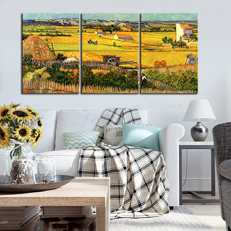 3Pcs/Set Van Gogh Autumn Farm Canvas Print Painting Yellow