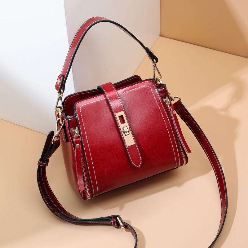AOEO Fashion Large Capacity Handbags Women Shoulder Bag Bucket Soft Split Leather New Elegant Crossbody Bags For Woman