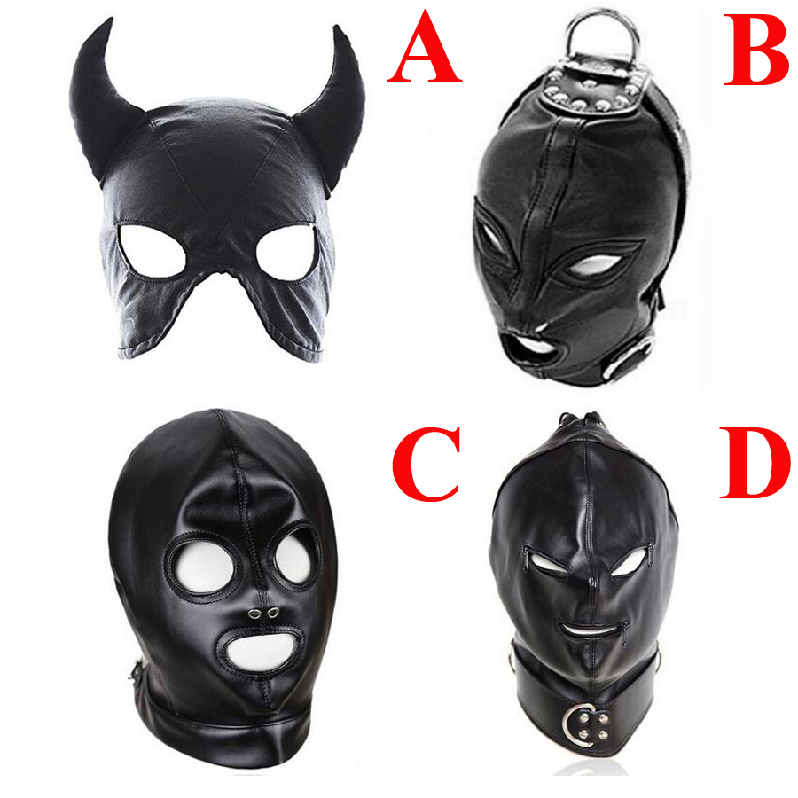 Bdsm Bondage Hood, Leather Eye Mask Blindfold,Slave Open Mouth And Eye Mask,Adult Sex Toys