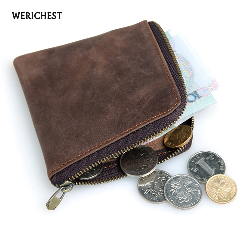 Genuine Leather Coin Purse for Women & Men Zipper Small Purse Short Coin Wallets Brand Mini Wallet 2017 new wallet small coin purse short men wallets genuine leather men purse wallet brand purse vintage men leather wallet