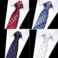 Vangise 2018 Classic Silk Men Tie Red Blue Dot Neck Ties 8cm  for Formal Wear Business Suit Wedding Party Gravatas
