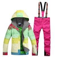 Высокое качество Многоцветный Для женщин лыжный костюм комплекты Водонепроницаемый ветрозащитный Толстая зимняя теплая одежда Сноуборди