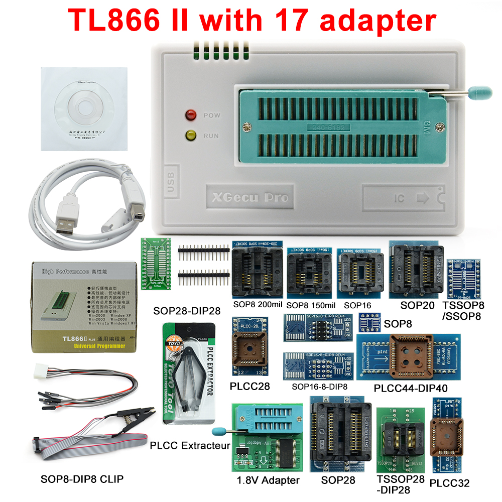 100% Original V8.51 TL866II Plus Universal Programmer+17 Adapters High speed TL866 Flash EPROM Programmer-in Calculators from Computer & Office    1