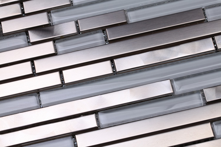 Short And Long Strip Bench Drawing Metal Mixed Clear Glass Mosaic Tiles For Kitchen Backsplash