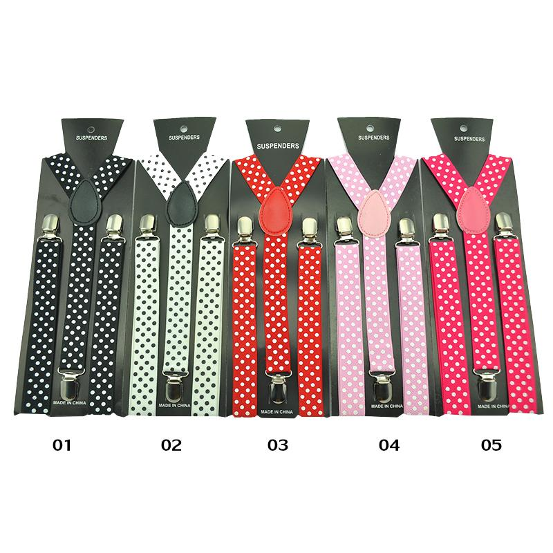 2.5cm Wide Fashion 16 Colors Polka Dot Pattern Polyester Suspenders Women's Men's Unisex Clip-on Braces Y-back Elastic Suspender