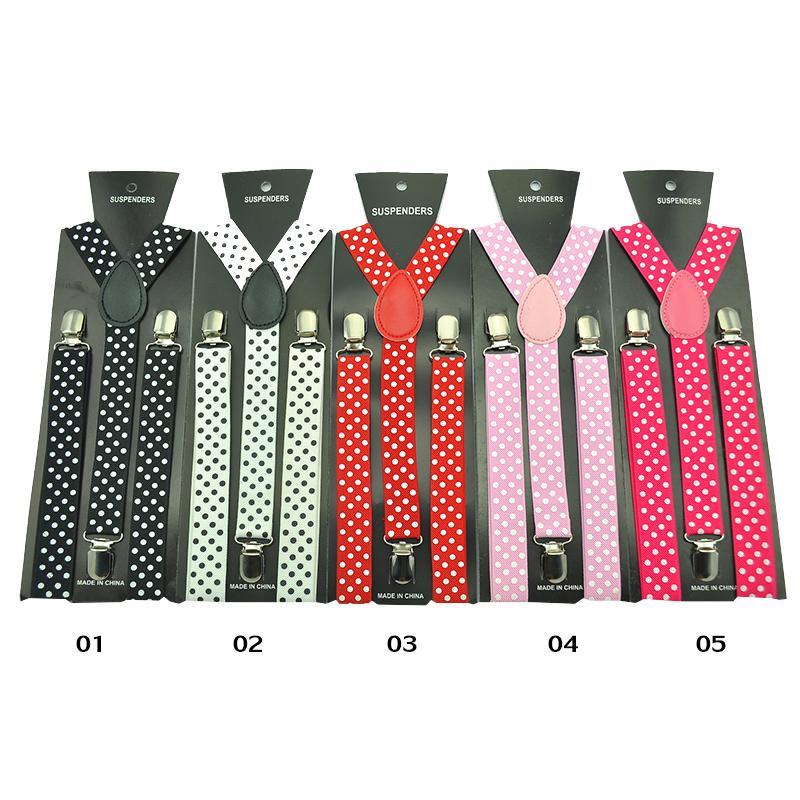 Women'S Men Unisex Shirt Suspenders For Trousers 2.5cm Strap Fashion 16 Colors Polka Dot Pattern  Pants Y-Back Elastic Suspender
