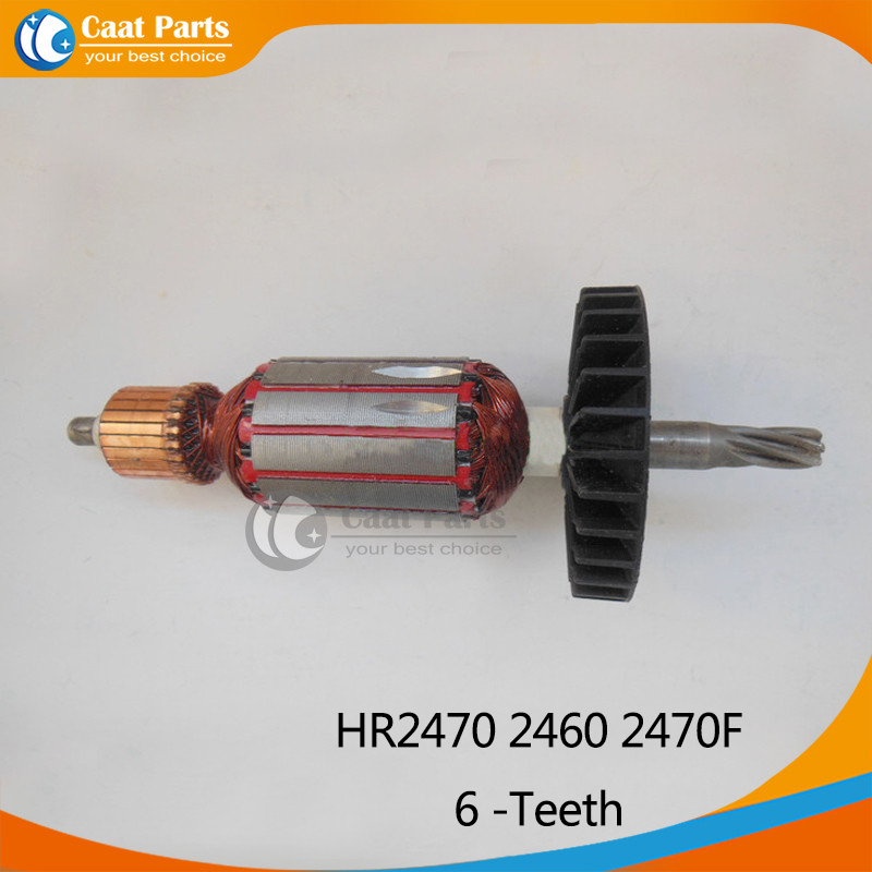 цена на Free shipping! AC 220V 6 -Teeth Drive Shaft Electric Hammer Armature Rotor for Makita HR2470 2460 2470F,High-quality!
