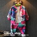 Niños de la manera al por menor 2015 algodón de los bebés que arropan otoño chándales cremallera capa + pantalones niños deportes traje 2-8years