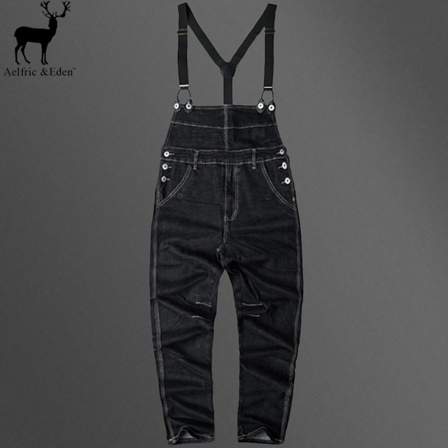 Aelfric Eden Hot Korean College Wind Mens Jumpsuit Black Denim Overalls Men 2017 Street Fashion Male Home Leisure Bib Pants