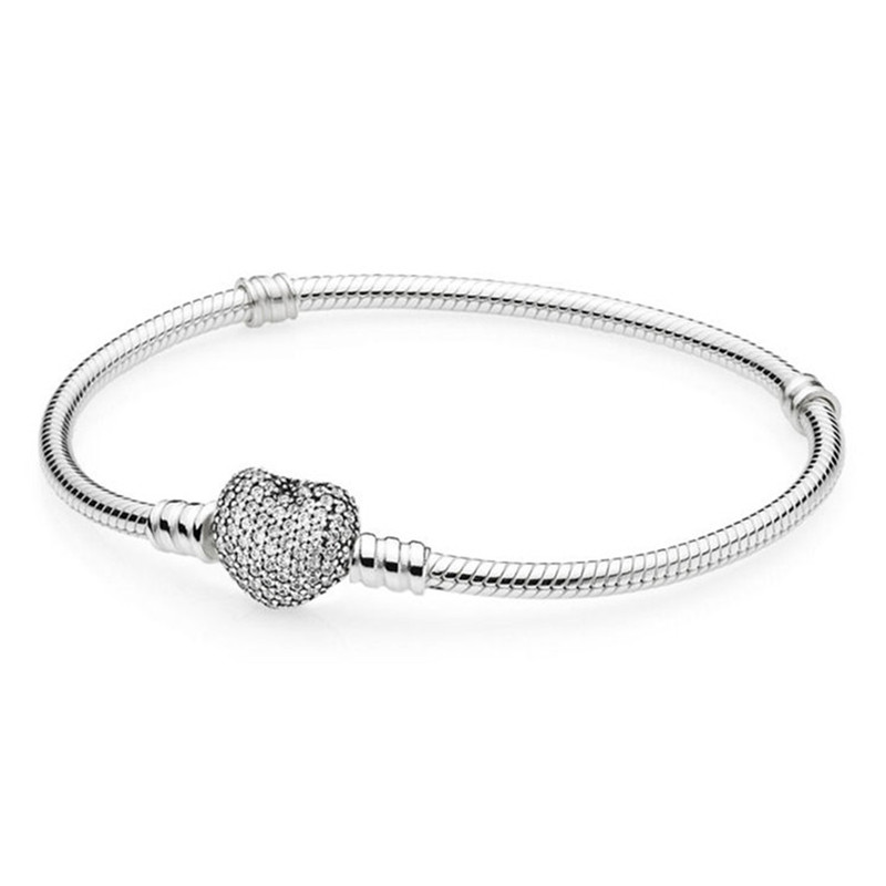 Authentic 925 Sterling Silver Bead Charm Chain Fit Moments Silver Pans Bracelet With Pave Heart Clasp For Women DIY Jewelry pandora bracelet