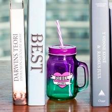 500 ml Hitzebeständigem Glas Tee Milch Fuirt Saft Kaffeetassen Becher mit Deckel Und Strohhalm für Büro Freien Mode trinken