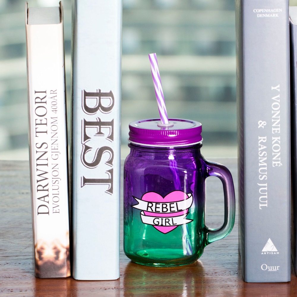 500ml Heat Resistant Glass <font><b>Tea</b></font> Milk Fuirt Juice Coffee <font><b>Cups</b></font> Mug with Lid And Straw for Office Outdoor Fashion Drinking