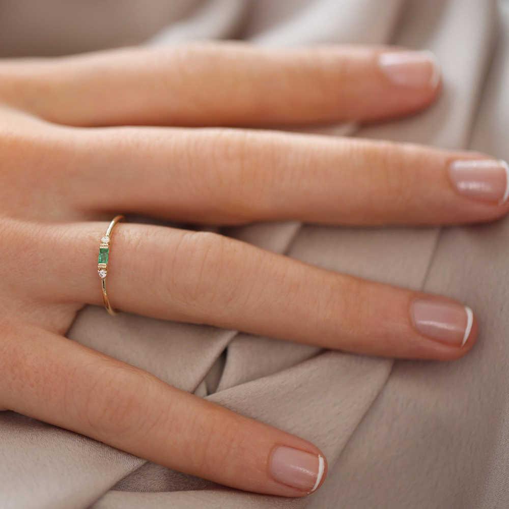 ZHOUYANG mince anneaux pour femmes élégant Mini 3 couleur cristal OL jaune Rose or argent couleur travail cadeau bijoux de mode KCR065