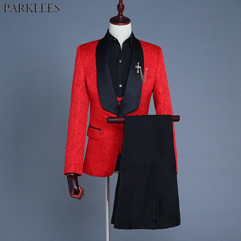 สีแดงสีขาวสีชมพู3ชิ้นสูท(เสื้อ+เสื้อ+กางเกง)ผู้ชาย2018สลิมฟิตปกผ้าคลุมไหล่สำหรับผู้ชายชุดแต่งงานแฟชั่นJacquardสูทพรหม-ใน สูท จาก เสื้อผ้าผู้ชาย บน   1